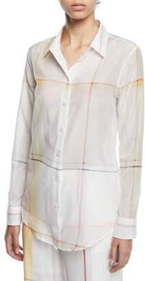 Equipment Essential Long-Sleeve Multi-Stripe Silk Blouse