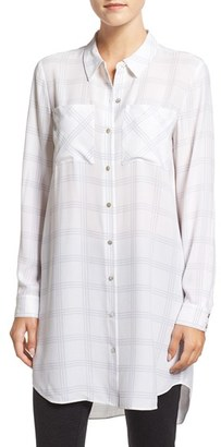 Eileen Fisher Plaid Silk Crepe Classic Collar Tunic $378 thestylecure.com