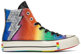 Converse Black and Multicolor Chuck 70 Pride High Sneakers