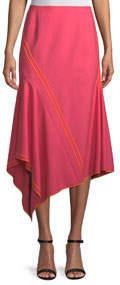 Soft Wool Mesh Asymmetric Midi Skirt