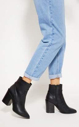 PrettyLittleThing Black Western Boot