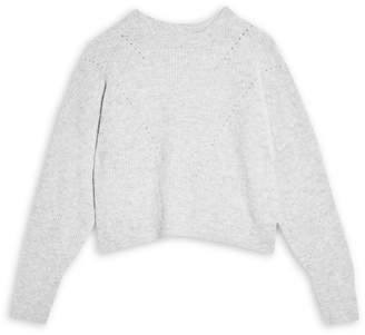 Topshop Long-Sleeve Knit Cropped Sweater