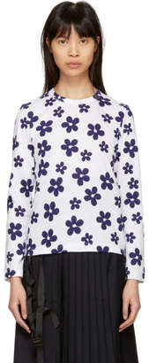 Comme des Garcons White and Navy Flower T-Shirt