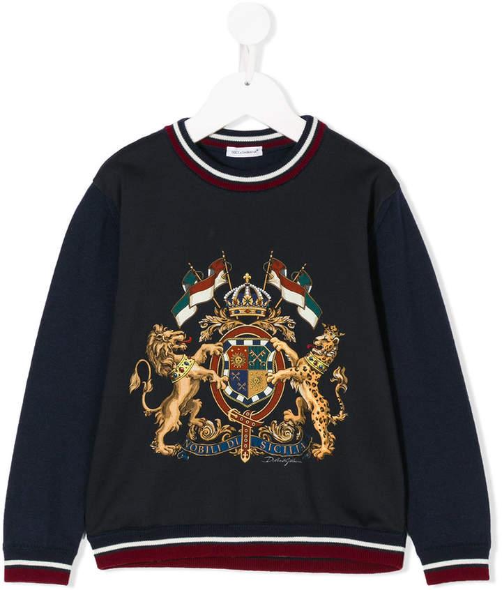 crest print jumper