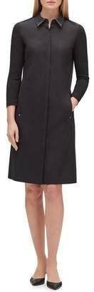 Lafayette 148 New York Juniper 3/4-Sleeve Stretch-Cotton Shirtdress
