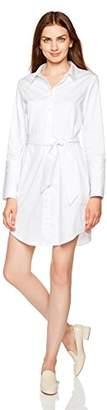 Essentialist Women's Stretch Poplin Wide Cuff Shirtdress with Sash (