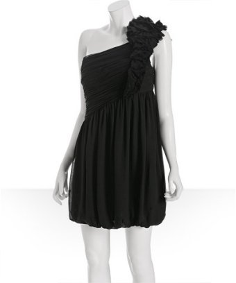 Robert Rodriguez Black Label black silk chiffon 'Cate' rosette one shoulder dress