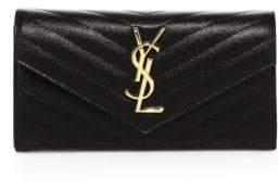 Saint Laurent Monogram Textured Matelasse Leather Flap Continental Wallet