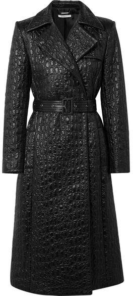 Givenchy - Double-breasted Croc-effect Shell Trench Coat - Black