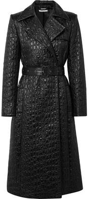 Givenchy Double-breasted Croc-effect Shell Trench Coat - Black