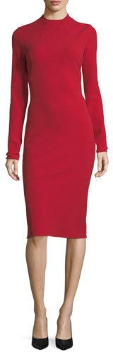 Ralph Lauren Collection Matilda High-Neck Wool Crepe Dress