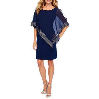 S. L. Fashions Short Sleeve Applique Cape Shift Dress