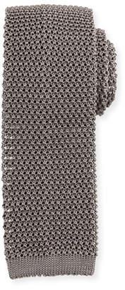 Ralph Lauren Silk Knit Flat-End Skinny Tie, Dark Gray