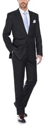Verno Men's Classic Fit Black Pinstripe 2-Piece Suit (Jacket and Pants)