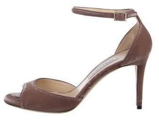 Jimmy Choo Velvet Ankle Strap Sandals