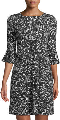 Tahari ASL 3/4 Tulip-Sleeve Polka Dot Lace-Up Front Dress