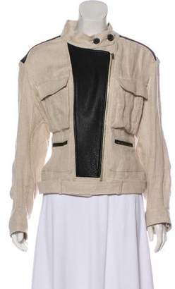 IRO Leather-Trimmed Casual Jacket