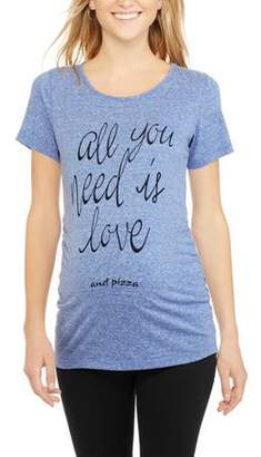 Planet Motherhood Maternity All You Need is Love, and Pizza Short Sleeve Graphic Tee With Flattering Side Ruching