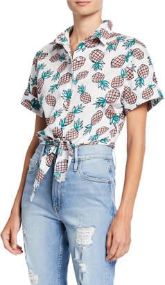 Ash Rain+Oak Vera Pineapple Button-Down Tie-Front Crop Top