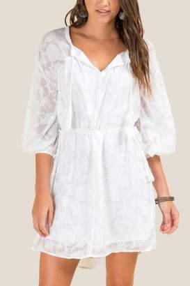 francesca's Moriah Cinched Waist Dress - White