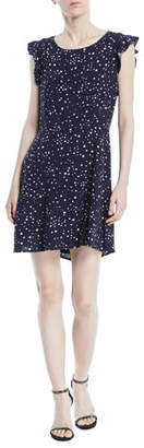 Cupcakes And Cashmere Dolores Crewneck Sleeveless Cutout-Back Star-Print Mini Dress