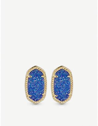 Kendra Scott Ellie 14ct gold-plated Cobalt Drusy stud earrings