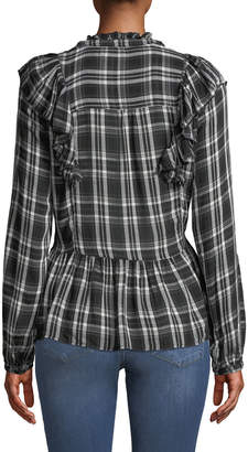 Free Generation Ruffle-Sleeve Plaid Peplum Blouse
