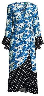 Rixo Women's Luna Diana Floral Dot Wrap Dress