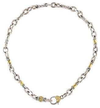 Judith Ripka Two-Tone Diamond Chain Link Necklace