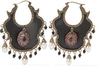 Alexander McQueenAlexander McQueen - Gold-plated, Enamel, Swarovski Crystal And Pearl Earrings - Black