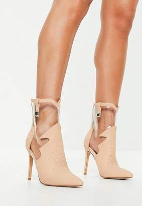 Missguided Nude Faux Leather Clear Cut Out Ankle Boots