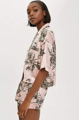 Topshop Floral Satin Pyjama Shirt And Shorts Set