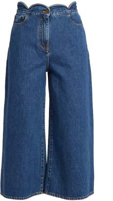 Scallop-edged wide-leg cropped jeans
