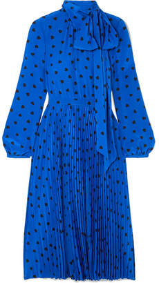 Valentino Pussy-bow Pleated Printed Silk Midi Dress - Bright blue
