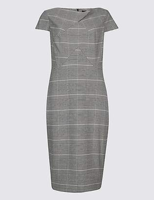 M&S Collection Checked Short Sleeve Pencil Dress