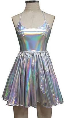 pinda Summer Musical Festival Rave Clothes Holographic Wrap Circle Skater Dress (XL, )