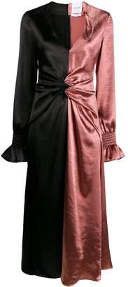 Black Coral metallic-effect color-block gathered dress