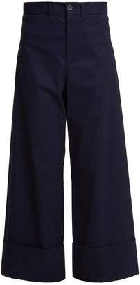 Sea High-rise cropped wide-leg trousers