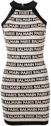 Balmain short logo printed dress