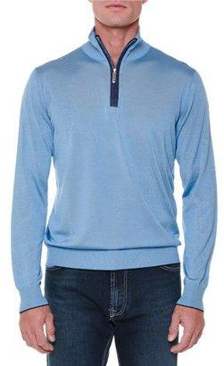 Stefano Ricci Cashmere Half-Zip Pullover Sweater, Light Blue $1,805 thestylecure.com
