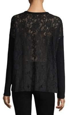 The Kooples Sweet Fleece Lace Back Sweater