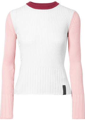 Kenzo Color-block Ribbed Cotton And Cashmere-blend Sweater - White