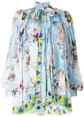 Dolce & Gabbana Cupid print chiffon blouse