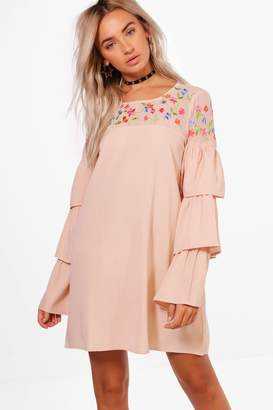 boohoo Boutique Embroidered Frill Sleeve Shift Dress