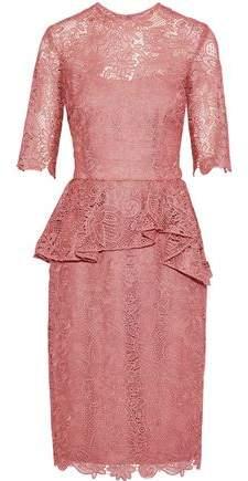 Reem Acra Cotton-Blend Lace Peplum Dress