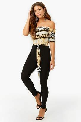 Forever 21 Off-the-Shoulder Checkered Chain Jumpsuit