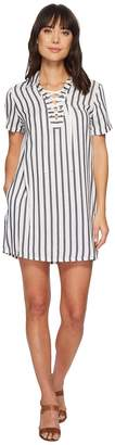 Miss Me Lace-Up Striped Dress Women's Clothing