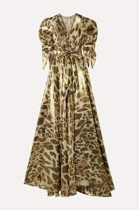 Naeem Khan Wrap-effect Leopard-print Silk-lamé Gown - Gold