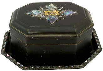 One Kings Lane Vintage Antique Pearl Inlay Tole Tea Box & Tray - Rose Victoria