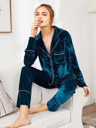 Shein Notch Collar Binding Pocket Top & Pants Pajama Set